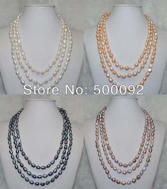 Free shipping 60 inch 7-8*8-10mm Baroque cultured  freshwater pearl Necklace
