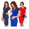New Spring Summer Casual Maternity Dresses for Pregnant Women Short Sleeve V-neck Nursing Clothes Blue Black Red Hot Sale A0016