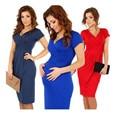 Nueva Primavera Verano Casual Vestidos de Maternidad para Las Mujeres Embarazadas Ropa De Enfermería de Manga Corta Con Cuello En V Azul Negro Rojo Venta Caliente A0016