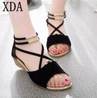 XDA 2019 fashion Vrouwen rits sandalen Schoenen vrouw schoenen sandalen vrouwen zomer schoenen Gladiator Casual Dames Schoenen