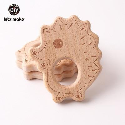 Let's Make 20pcs/lot Food Grade Beech Wooden Teethers Handmade  Pigeon Teether Wooden Animal Teethers Set
