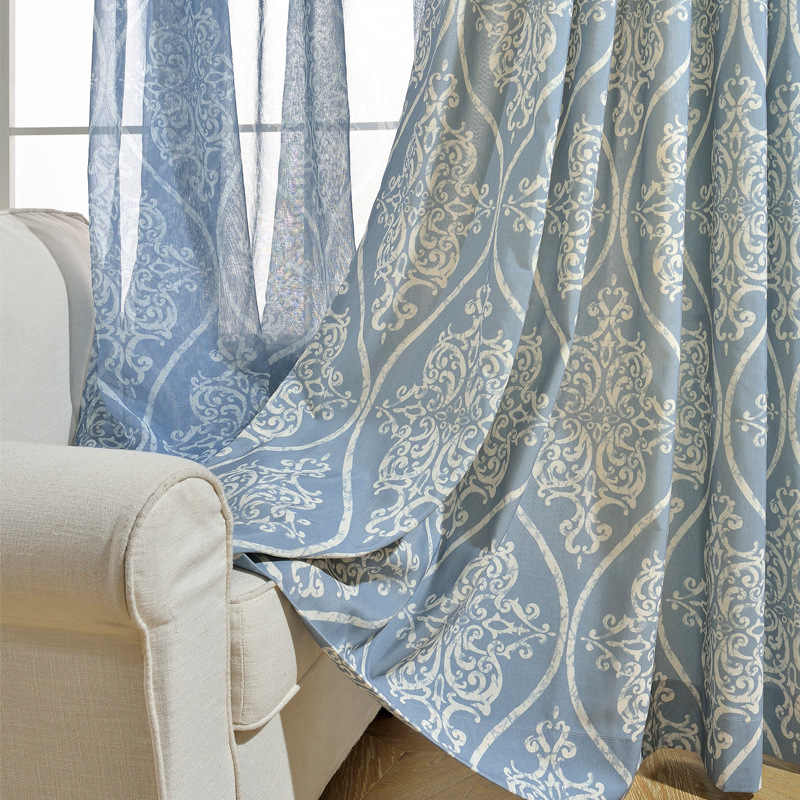 Chinese Style Modern Curtains for Living Dining Room Bedroom  Blue Simple Polyester Cotton Printed Curtain Screens