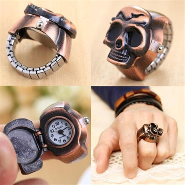 Unisex de moda Retro Vintage dedo cráneo anillo reloj cubierta de reloj de las mujeres de los hombres de bolsillo Watces relogio masculino al por mayor A20