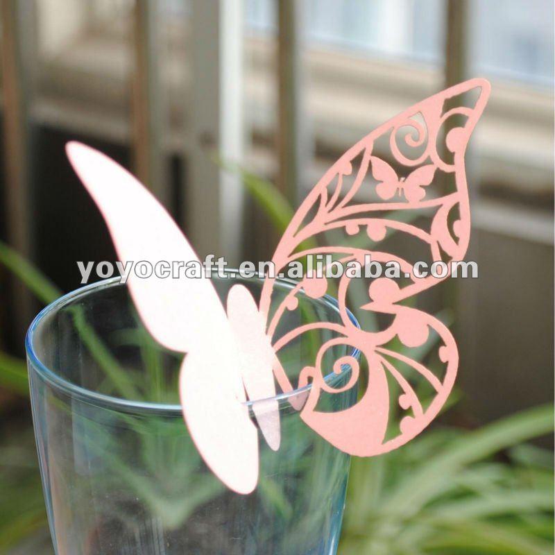 Горячая вырезанные лазером бабочки Экологичная бумага MOQ 100 шт Заказные Свадебные места карты