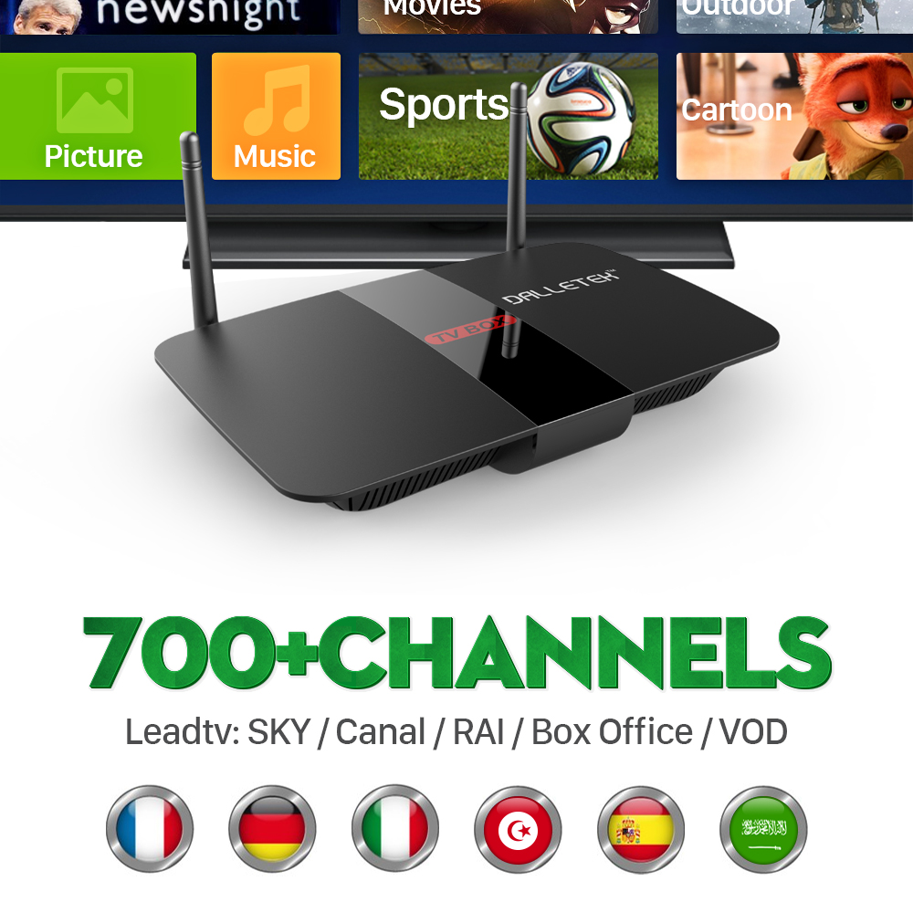 ФОТО Arabic iptv Box Android Set Top Box with 1 Year LEADTV Subscription Channels Free Europe Arabic French Dalletek Arabic iptv Box