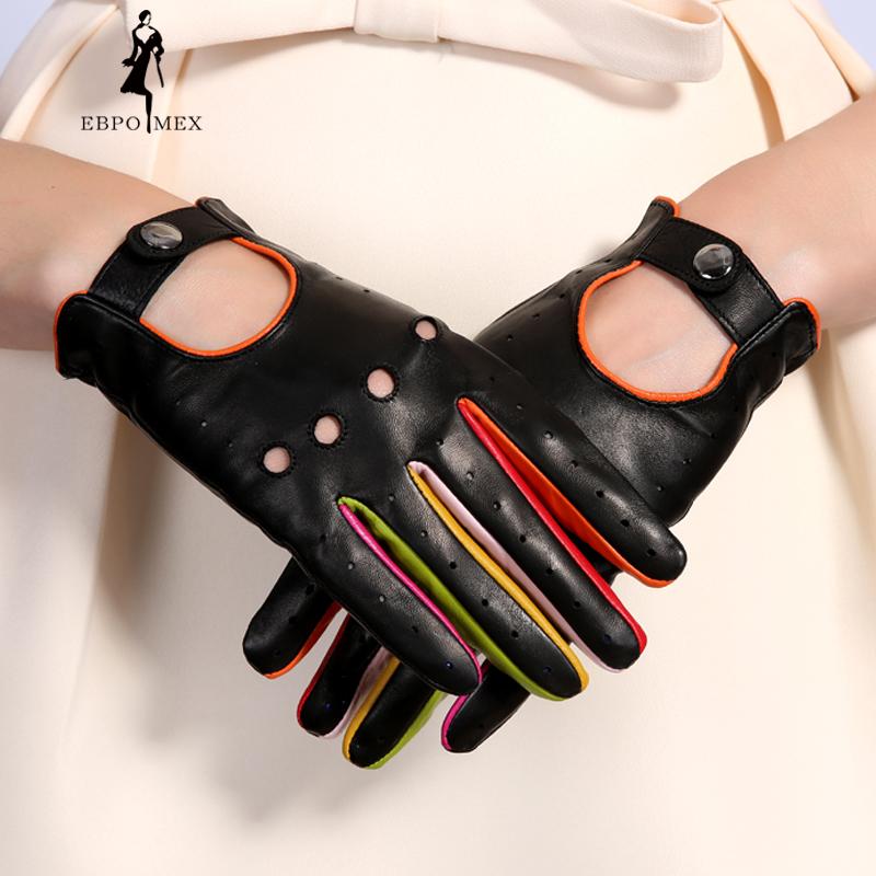 Gants d'hiver en cuir véritable pour femmes 2017 nouvelle marque de mode dames noir gants de conduite sans doublure mitaines en peau de chèvre EBPO MEX