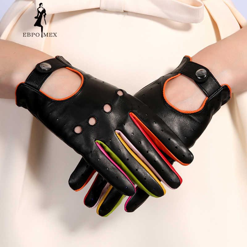 b9bc972ac Women's Winter Genuine Leather Gloves 2017 New Fashion Brand Ladies Black Unlined  Driving Gloves Goatskin Mittens