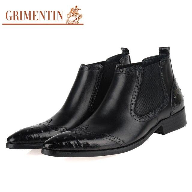 GRIMENTIN men boots brown genuine leather italian design men business  wedding office shoes ankle boots men 7378087ead2