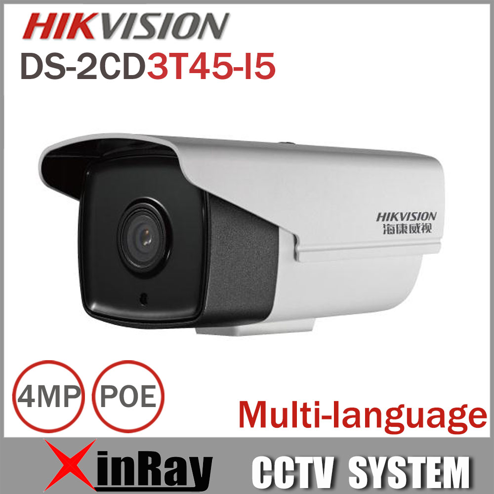 Hikvision Full HD 4MP Camera DS-2CD3T45-I5 Support H.265 HEVC POE IP Bullet Camera For Home Security with 50M IR Range full hd 4mp bullet camera ds 2cd3t45 i5 support h 265 hevc poe ip cctv camera for home security 50m ir range