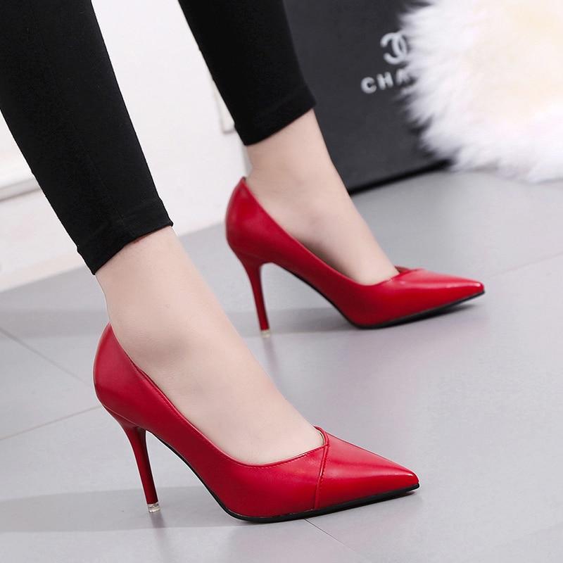Style 2018 Hauts Stiletto De Nouvelles Haut Talons rouge Européen Simples Pointu Chaussures Femmes Talon Pu Mode Et kaki Noir Américain r78Bpqrn6