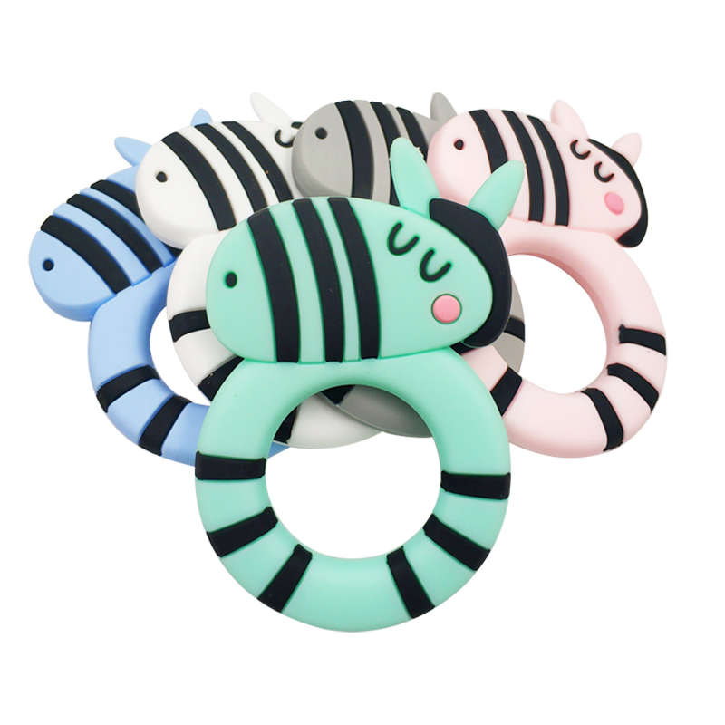 1pc Safe Baby Teether BPA Free Cute Animal Zebra Infant DIY Ring Necklace Teether Toddle Silicone Chew Charms Kids Teething Toys