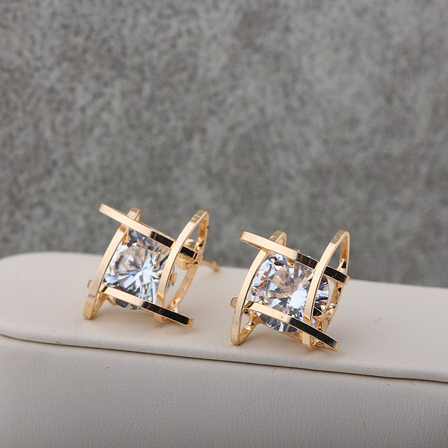 Famshin 2017 New Fashion Jewelry Brand Design Gold Silver Colors Square Luxurious Zircon Stud Earrings