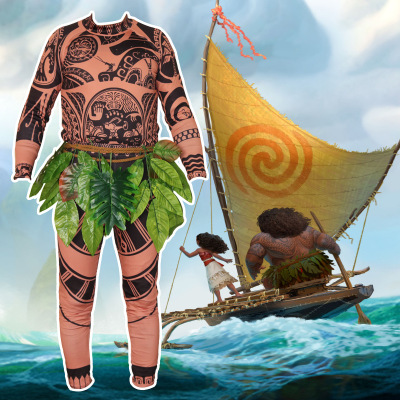 Movie Moana Maui Cosplay Costume Full Sets Vaiana For Halloween Fancy Men BodySuit Tights Sweatshirt Pants Leaves In TV Costumes From