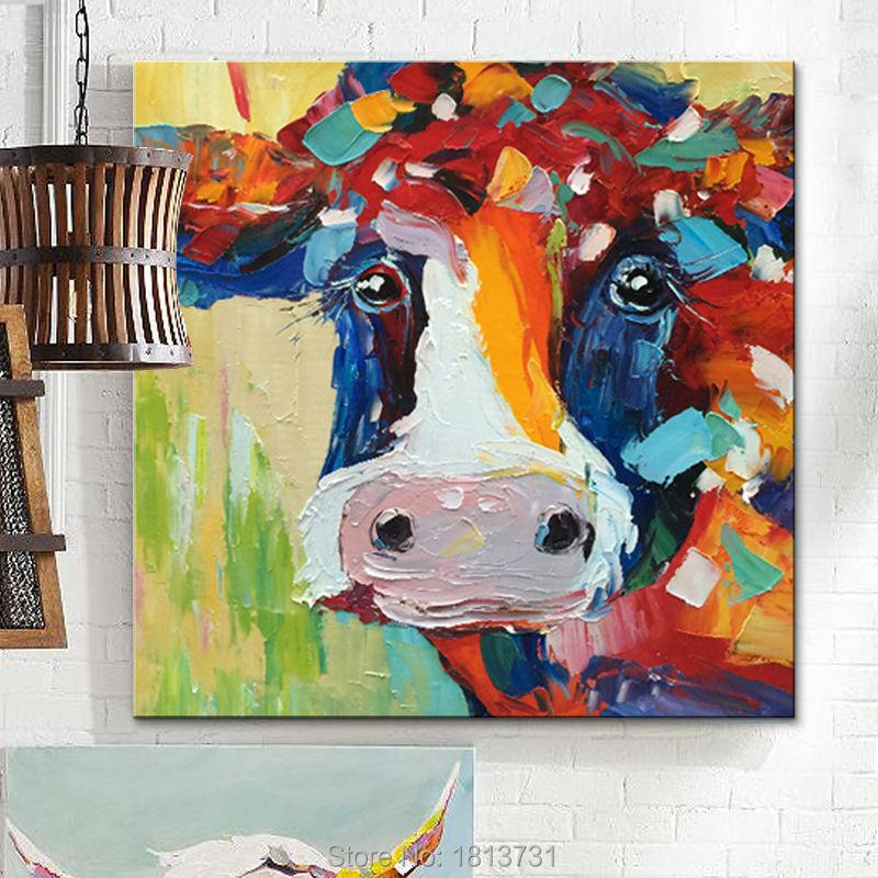 Lgemlde Auf Leinwand Wandbilder Gemlde Fr Wohnzimmer Wandkunst Pop Art Kuh Moderne Abstrakte Handgemalte 15