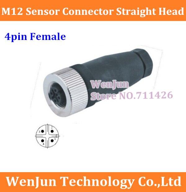 bilder für Hohe Qualität M12 luftfahrt-stecker Gerade kopf M12 4pin Weiblich Sensor stecker 4 core 50 TEILE/LOS