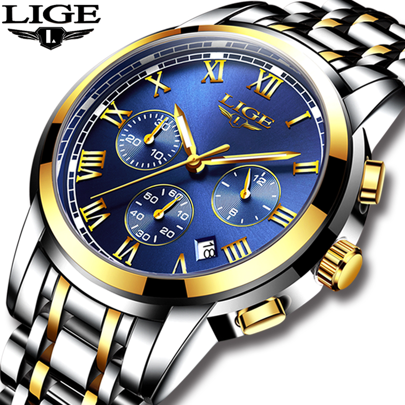 2018 New Watches Men Luxury Brand LIGE Chronograph Men Sports Watches Waterproof Full Steel font b