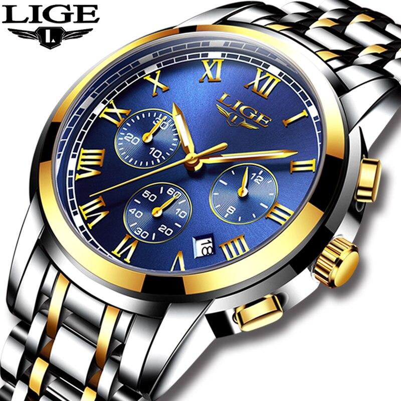 2018 neue Uhren Männer Luxus Marke LIGE Chronograph Männer Sport Uhren Wasserdicht Voller Stahl Quarz herren Uhr Relogio Masculino
