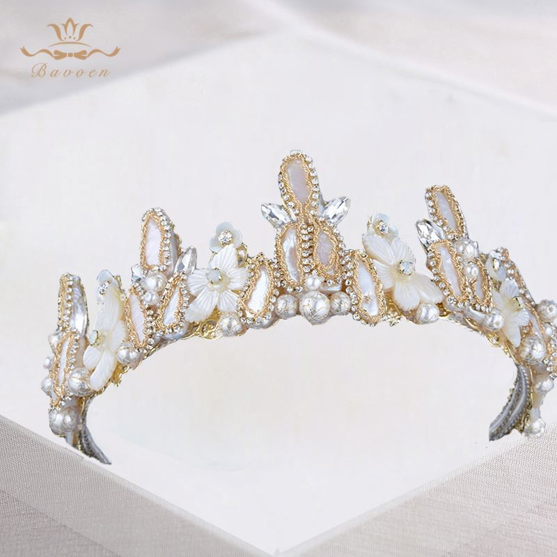 High-End Handmade Champagne Color Nature Pearls Hairbands Ceramic Flower Brides Crowns Headpiece Crystal Hair Accessories