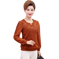 Fashion Women Elegant Blouses Caramel Burgundy Red Black Tops Middle Aged Woman Lace Chiffon Patchwork Blouse Mother Top Leisure