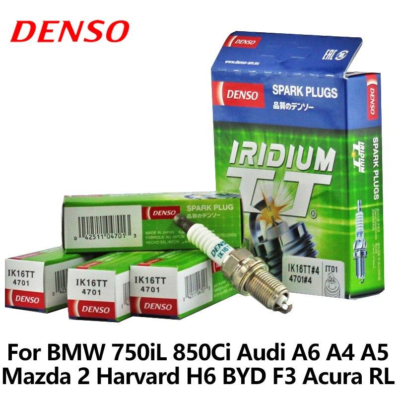 4pcs/lot DENSO Car Spark Plug For BMW 750iL 850Ci Audi A6 A4 A5 Mazda 2 Harvard H6 BYD F3 Acura RL Vios double iridium IK16TT