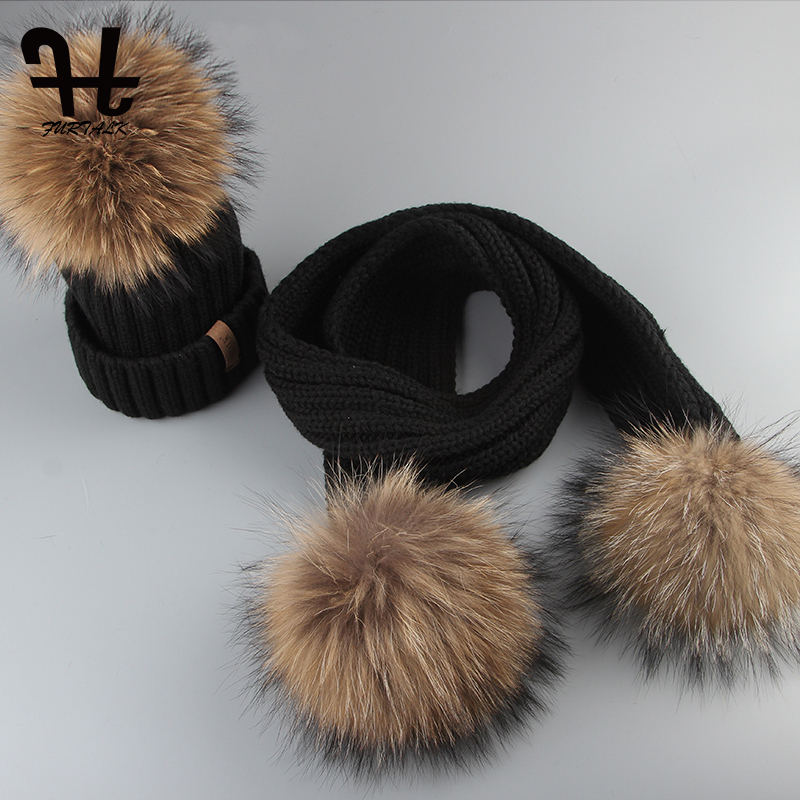 Furtalk Kids Beanie Hat And Scarf Set Girl Boy Pompom Hat Scarf Child Thick Warm Winter Knit Hats With Raccoon Fur Ball Age 2-14