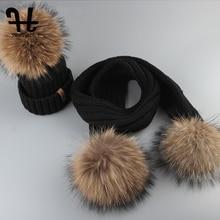 Furtalk キッズビーニー帽子とスカーフセットガールボーイ pompom 帽子スカーフ子厚く暖かい冬ニット帽子アライグマ毛皮ボール年齢 2 14