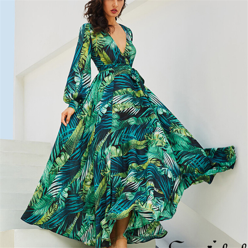 6d38f7621574f US $11.82 Long Sleeve Sexy Dress Green Tropical Beach Vintage Maxi ...