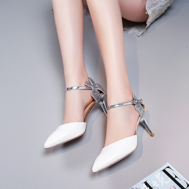 Bimolter Women High Fashion Leather Thin High Heels Women Elegant Prom Pumps Sexy Glittery Bling Silver pointed Toe Shoes FB047 in Women 39 s Pumps from Shoes