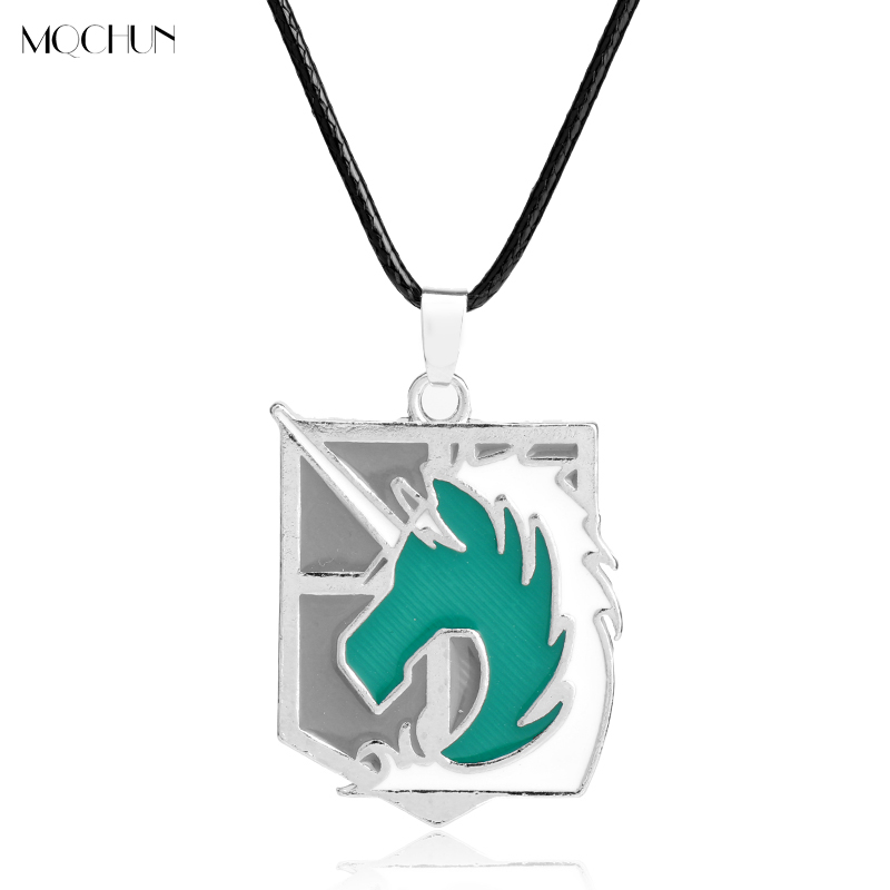 MQCHUN Trendy Japanese Anime Attack On Titan Figures Necklace Dog Tag pendant Necklace for Kids Men Christmas Birthday Gift