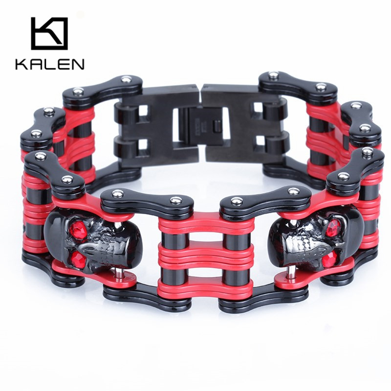 Kalen Punk Biker Red Eyes Skull Bracelet 21.5cm Male Bicycle Bike Chain Bracelet Bangle Gothic Stainless Steel Men's Bracelet цена 2017