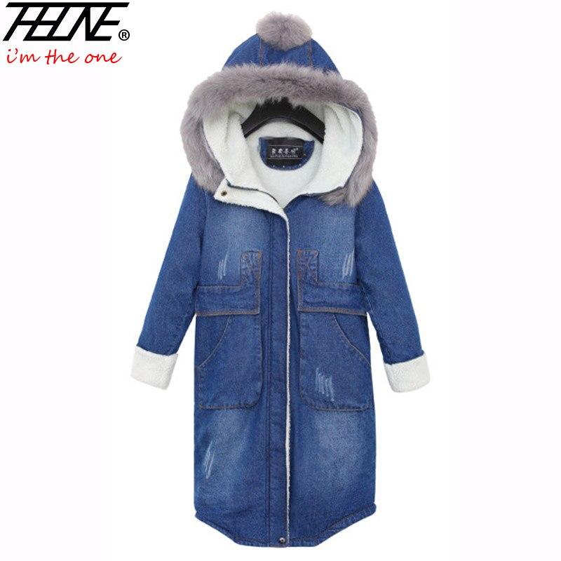 купить 2017 Parka Women Denim Jacket Long Fur Hooded Fleece Velvet Fashion Design Warm Thick Pocket Jeans Coat Winter Jackets Female дешево