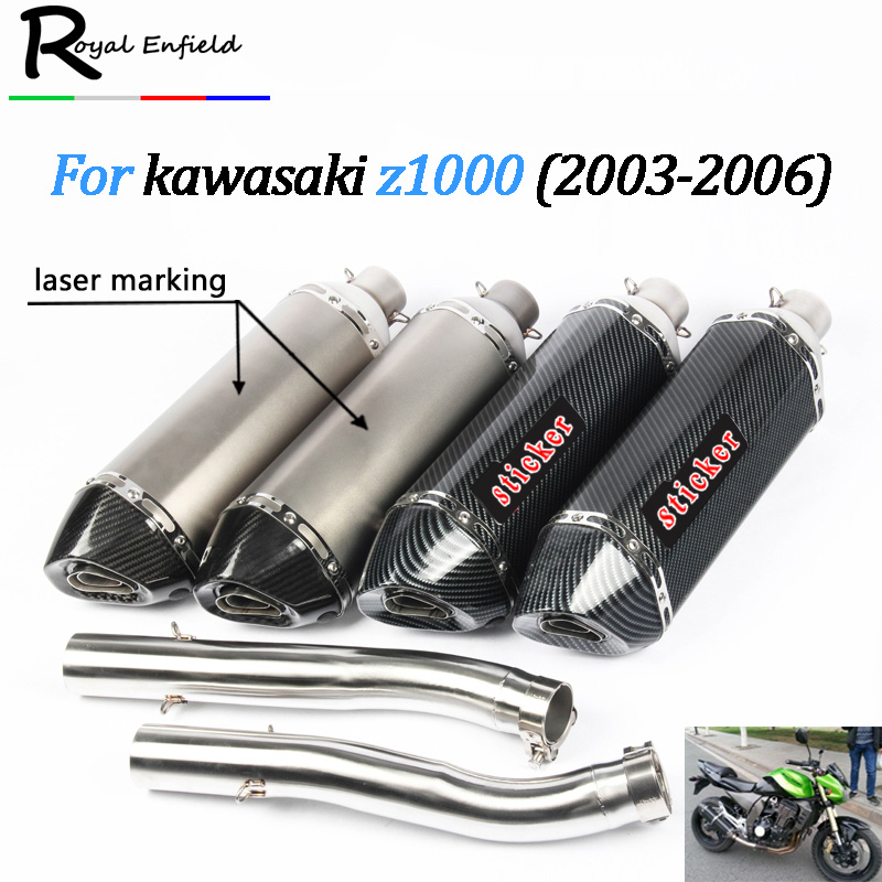 Mid-Pipe-Set Exhaust-Pipe 2004 Akrapovic Motorcycle Kawasaki Z1000 2003 Slip-On for Fit-For