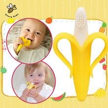 Безопасные экологически прорезыватель банан обучения зубная силиконовые щетка детская детские