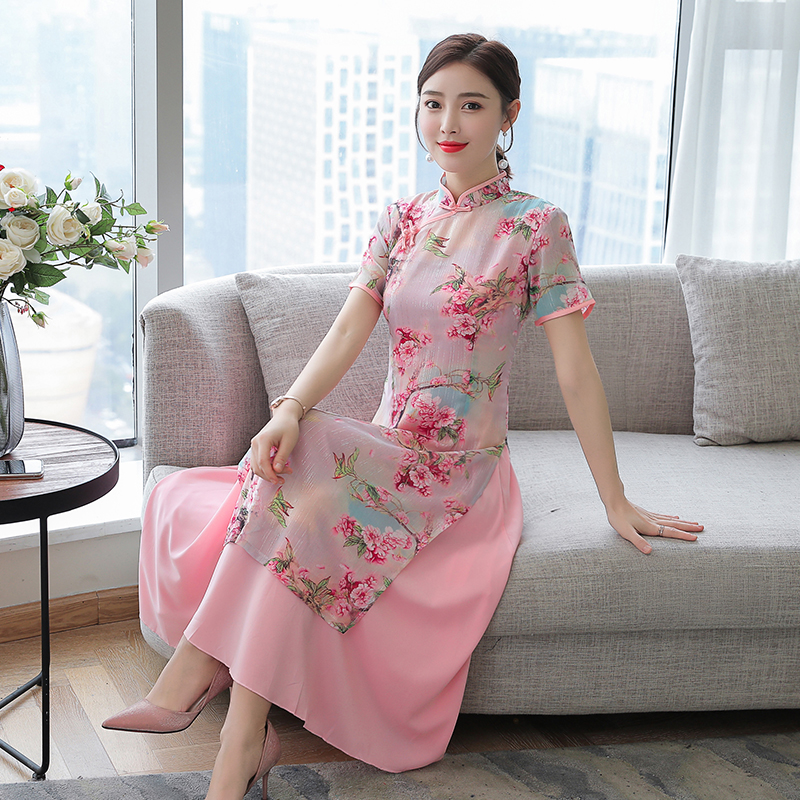 2017 new arrival Chinese style print floral modern Cheongsam Qipao dress