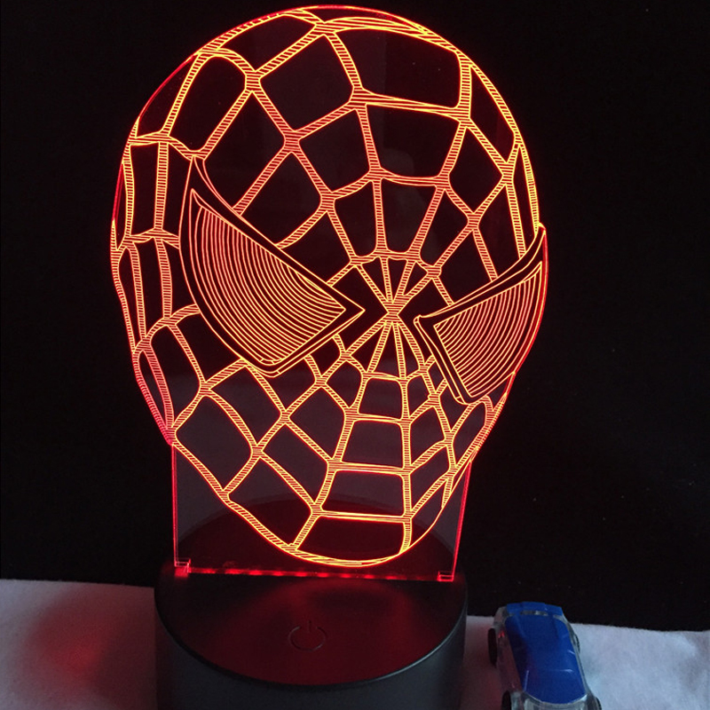 New 2017 Christmas Gift Cartoon figure 3D Spiderman RGB Night lights Home Decor Baby Bedroom  Illusion Children's lighting Lamp кашпо gift n home сирень