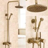 Antique Shower Set Retro Copper Show Brass Chrome Rotatable Type Water Saving Controller Round Shower Set