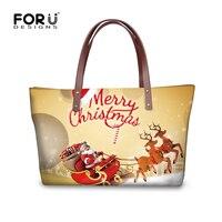 Forudesigns mujeres mano Bolsas Papá Noel impresión Niñas totalizador regalos Xmas Gatos perro moda Bolsos de hombro casual playa compras Totes