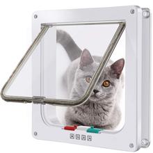 4 Way zamykane bezpieczeństwo kot drzwi skrzydłowe plastikowe magnetyczne drzwi wewnętrzne dla zwierząt domowych zestaw drzwiowy dla małych kotów Kitten Dog tanie tanio Z tworzywa sztucznego CN (pochodzenie) cats White S M L 4 Way Lock microchip cat door