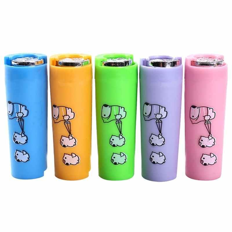 Caixa de Poupança de tubo Mudança Organizador Caixa de Dinheiro Piggy Bank for kids Portátil Bolsa 8x3x3 cm Rodada 1 pcs Dos Desenhos Animados de Plástico Titular Da Moeda