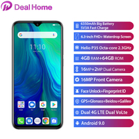 Original Ulefone power 6 Android 9.0 Helio P35 Octa core 6.3 19.5:9 FHD Smartphone 4GB 64 GB 6350mAh NFC 4G Mobile Phone