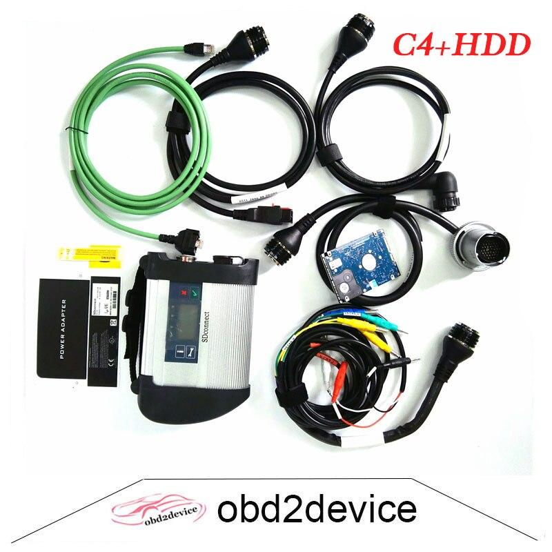 OBD2 MB Star C4 сканер с 2018.3 HDD Программы для компьютера для car/Грузовик C4 SD подключения WI-FI диагностики авто- инструмент Полный чип печатной платы ...