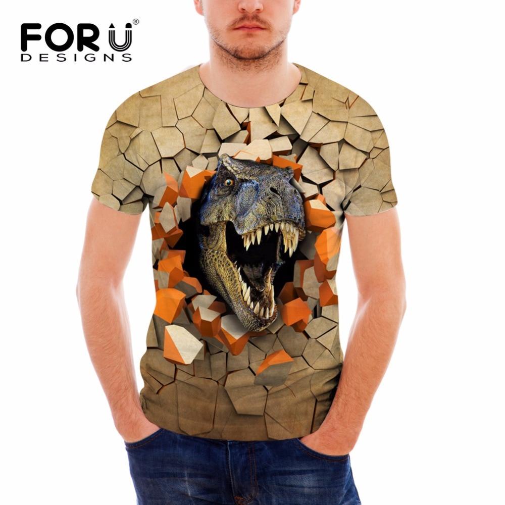 FORUDESIGNS 참신 3D 공룡 동물 프린트 남성 짧은 티셔츠 여름 통풍 피트니스 남성 티셔츠 Hipster Tees Camiseta