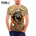 FORUDESIGNS Novelty 3D Dinosaur Animal Print Male Short T-shirt Summer Breathable Fitness T Shirt for Men Hipster Tees Camiseta