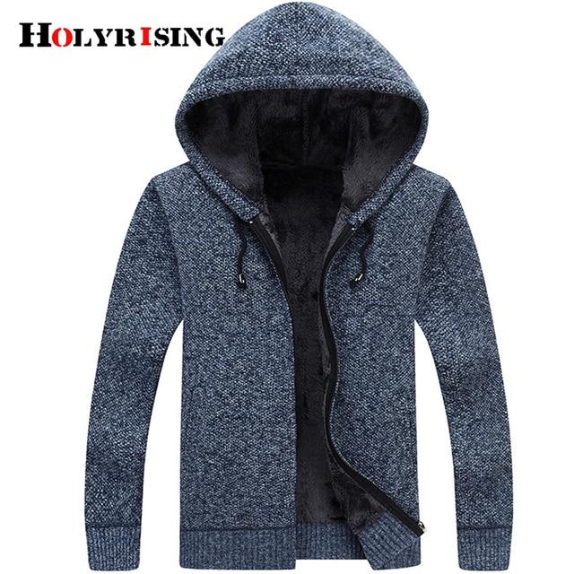5bf4921f8 € 34.01 48% de DESCUENTO Holyrising hombres cárdigan Casual jerseys Thicken  Outwear Warm Busos Para Cardigan Hombre Ropa con capucha 5 colores ...