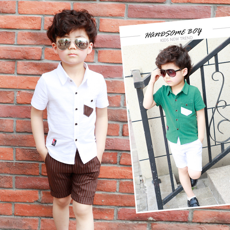 957fd4060676 HTB1cGuvkf9TBuNjy0Fcq6zeiFXa1 - School Boy Summer Clothing Set 2018 Boys  Clothes Kids Short Sleeves Shirt+ Stripe Shorts