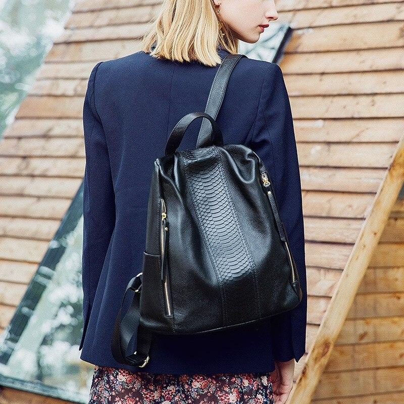 2019 Femelle Black À Pour Sac Mochila De Grand Cuir Style Feminina Sacs Transparent En Coréen Véritables Femmes Zipper École Dos Noir wXqnB1Rt8