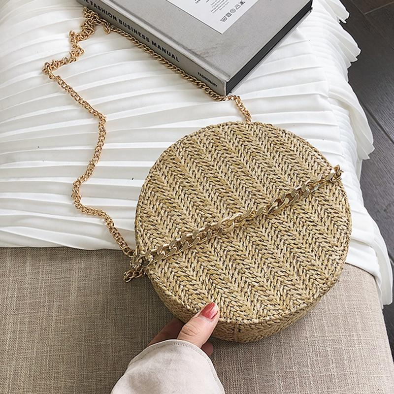 Woven Round Bag For Women 2020 Summer New Crossbody Bags Fashion Small Chain Purses And Handbags Ladies Fashion Shoulder Bag