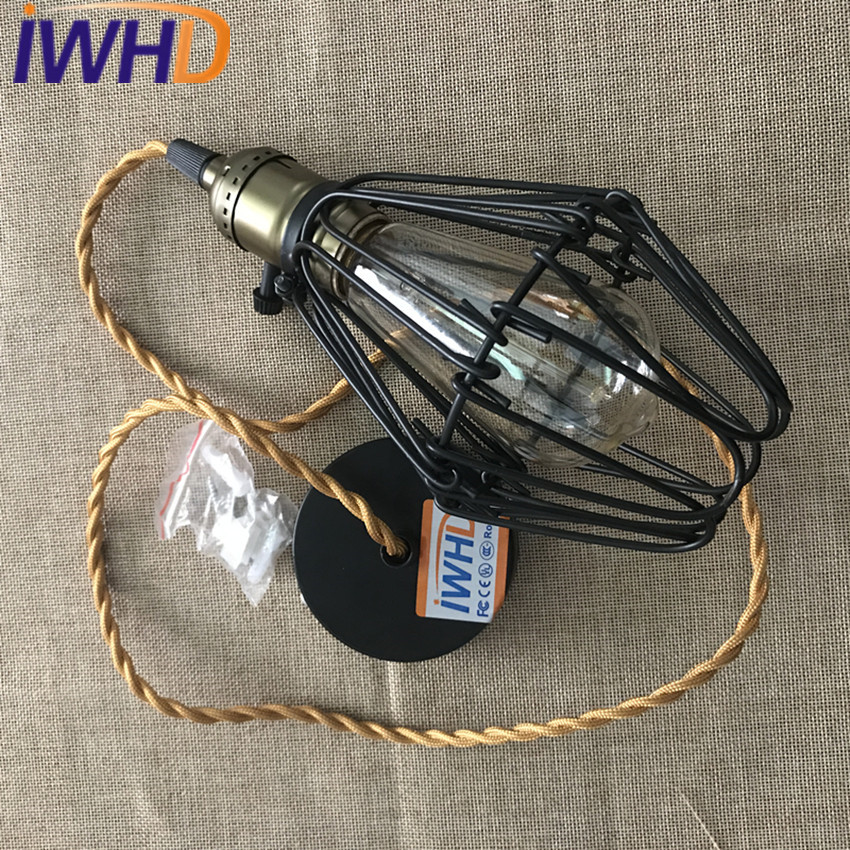 IWHD Loft Vintage Industrial Pendant Lights Creative Iron Antique Hanging Lamp For Bedroom Simple Edison Bulb Light Fixtures iwhd american edison loft style antique pendant lamp industrial creative lid iron vintage hanging light fixtures home lighting