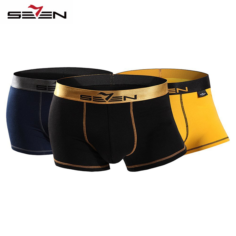 Seven7 Brand High Elastic Casual Men Underwear Boxers  Comfortable 3 Pcs\Pack Colorful Boxers Men Shorts Pants 110F08060