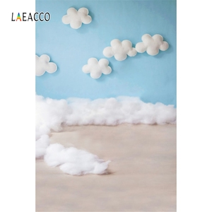 Image 2 - Laeacco Baby Shower Backdrops Newborn Photophone Birthday Photozone Blue Sky White Clouds Balloons Photography Backgrounds Props